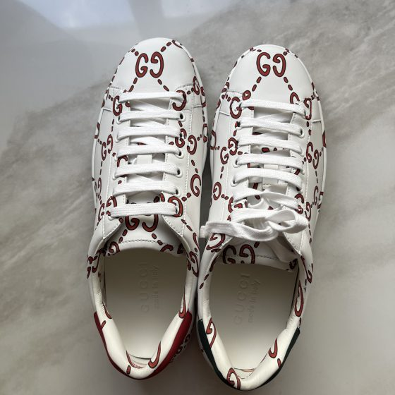 Gucci Mens Ace Sneaker with GG print Size 6.5