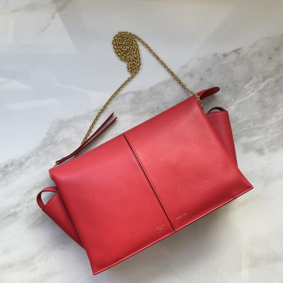 Celine Supple Natural Calfskin Tri-Fold Clutch Red