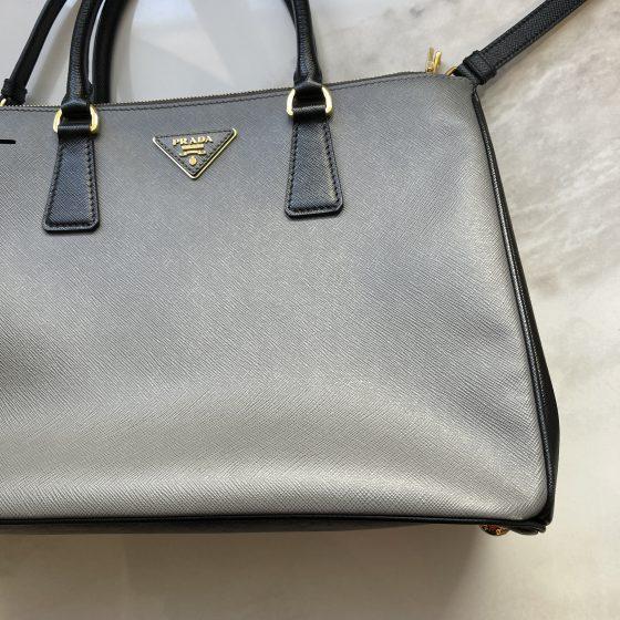 Prada Saffiano Medium Galleria Double Zip Tote Black & Gray