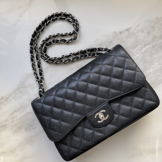 Chanel Caviar Quilted Jumbo Double Flap Black SHW