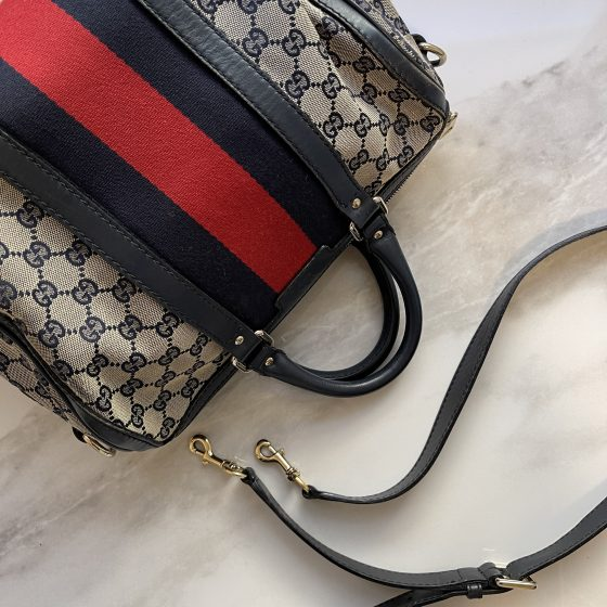 Gucci Monogram Vintage Web Medium Boston Navy