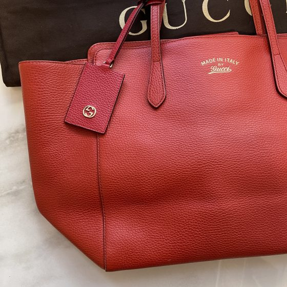 Gucci Pebbled Leather Medium Swing Tote Red