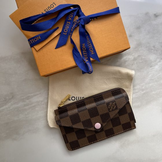 Louis Vuitton Card Holder Recto Verso Damier Ebene Rose Ballerine