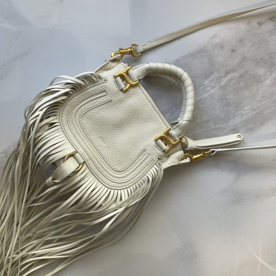 Chloe Marcie Mini Fringe Satchel Bag White