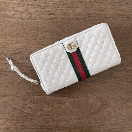Gucci Trapuntata Zip-around Wallet with Web in White