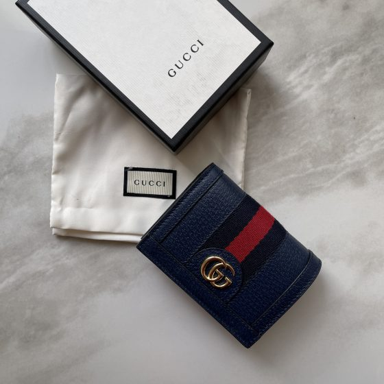 Gucci GG Web Ophidia Card Case Navy Leather