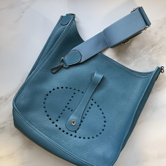 Hermes Taurillon Clemence Evelyne GM III Blue Jean