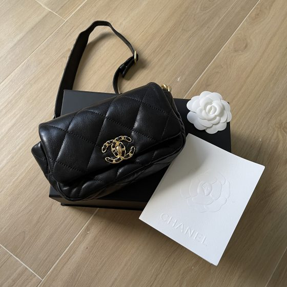 Chanel Lambskin Quilted Chanel 19 Waist Bag Black