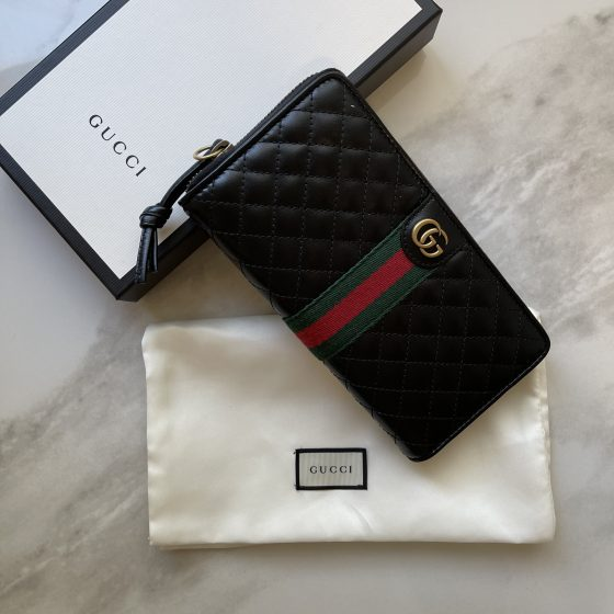 Gucci Calfskin Matelasse Mini GG Marmont Bag Black