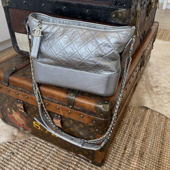 Chanel Metallic Lambskin Calfskin Quilted Medium Gabrielle Hobo Silver