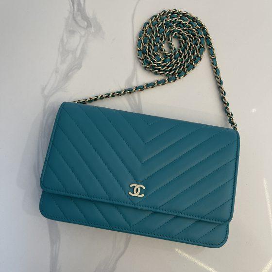 Chanel Lambskin Chevron Wallet On Chain WOC Turquoise
