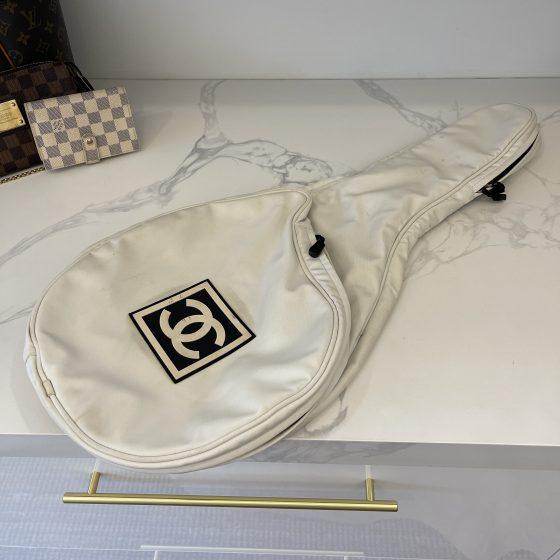 Chanel Collectors Off White Canvas Tennis Racquet Cover Bag w/ CC Logo