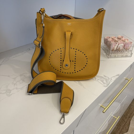 Hermes Taurillon Clemence Amazone Evelyne III PM Moutarde Taupe
