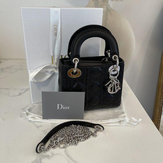 Christian Dior Lambskin Cannage Mini Lady Dior Black & SHW