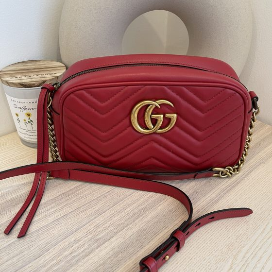 Gucci Calfskin Matelasse Small GG Marmont Chain Shoulder Bag Red