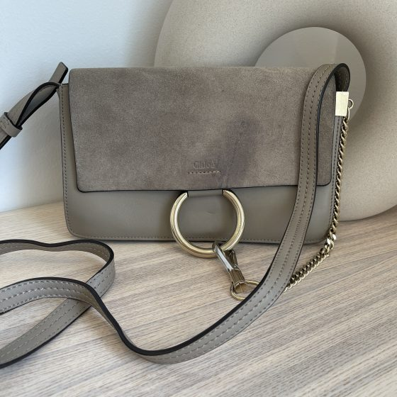 Chloe Suede Calfskin Small Faye Shoulder Bag Motty Grey