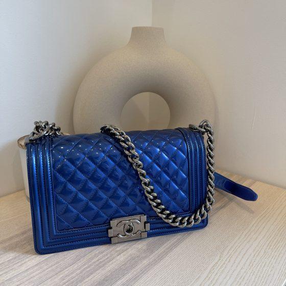 Chanel Metallic Patent Calfskin Quilted Medium Boy Flap Blue