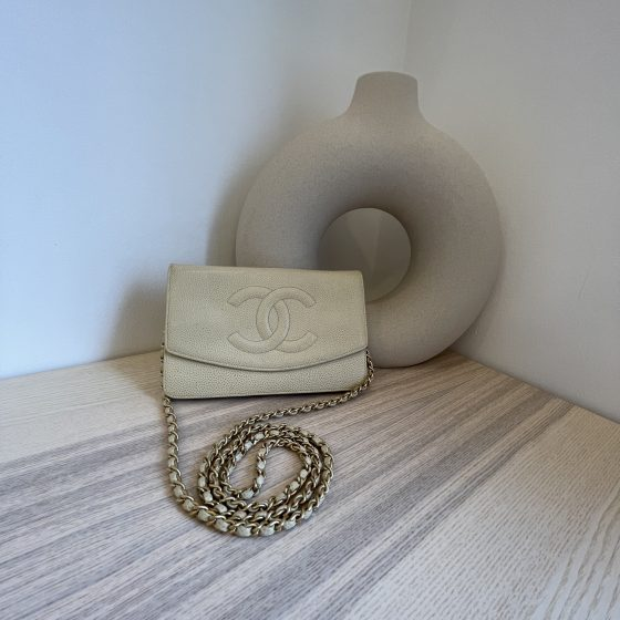 Chanel Caviar Timeless CC Wallet On Chain WOC Off White