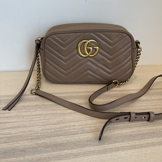 Gucci Calfskin Matelasse Small GG Marmont Bag Nude