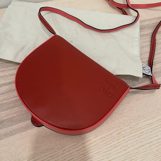 Loewe Heel Leather Saddle Bag Red