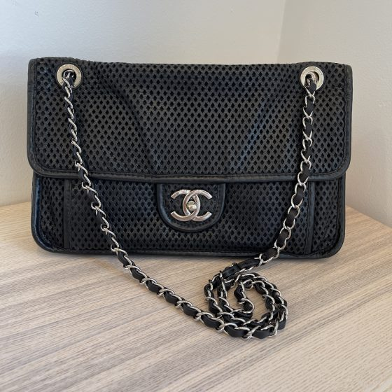 Chanel Perforated Calfskin Up In The Air Flap Black
