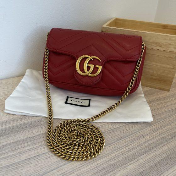 Gucci Calfskin Matelasse Super Mini GG Marmont Hibiscus Red