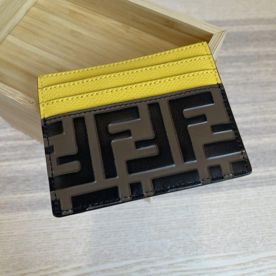 Fendi Calfskin FF 1974 Embossed Card Holder Yellow