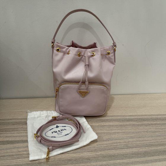 Prada Nylon Bucket Bag Light Pink