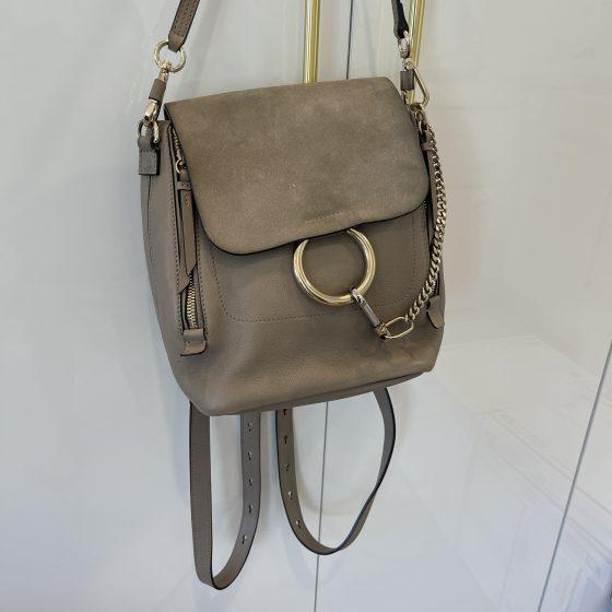 Chloe Suede Calfskin Small Faye Backpack Motty Grey