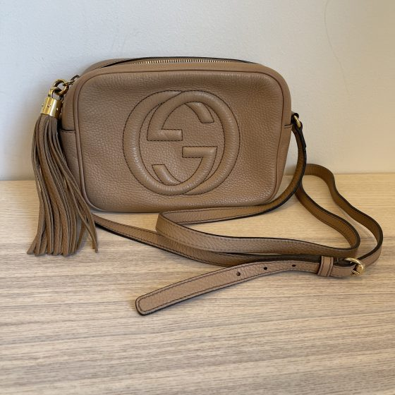 Gucci Calfskin Small Soho Disco Bag Rose Beige