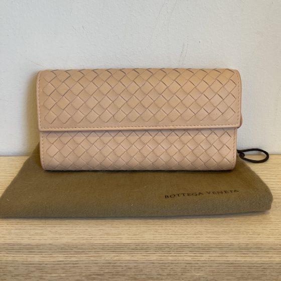 Bottega Veneta Nappa Intrecciato Continental Flap Wallet Soft Pink
