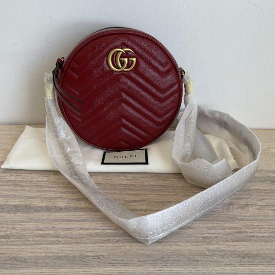 Gucci Calfskin Matelasse Mini GG Marmont Round Shoulder Bag Red
