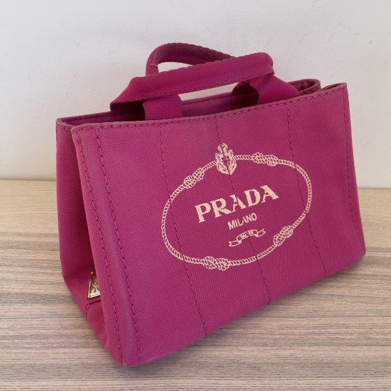 Prada Pink Canapa Canvas Logo-Print Small Tote Bag Pink