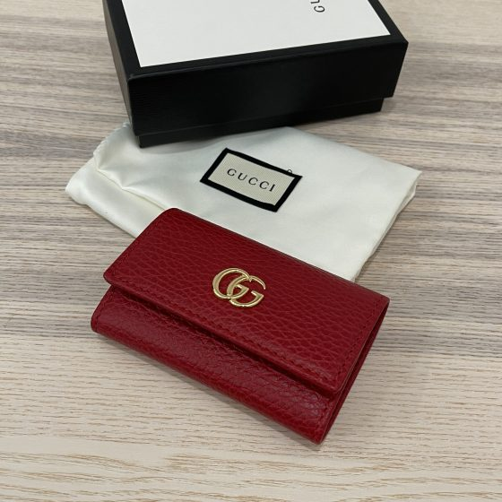 Gucci GG Marmont Leather Key Case Red