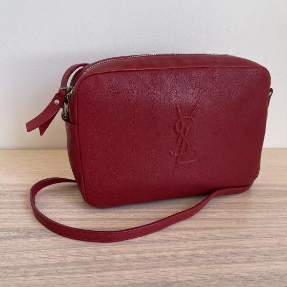 Saint Laurent Lambskin Monogram Small Lou Camera Bag Red