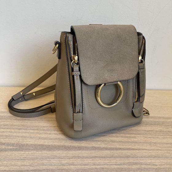Chloe Suede Calfskin Mini Faye Backpack Motty Grey